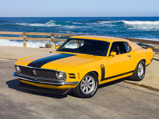 MST 01 RK1092 01 © Kimball Stock 1970 Ford Boss 302 Mustang School Bus Yellow With Black Stripe 3/4 Front View By Ocean