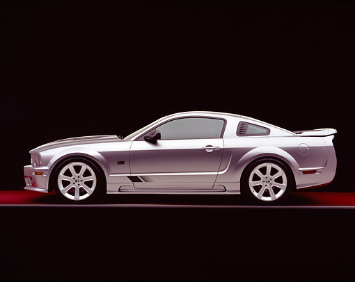 MST 02 RK0050 04 © Kimball Stock 2005 Ford Saleen Mustang Supercharged Silver Side View On Red Floor Gray Line Studio