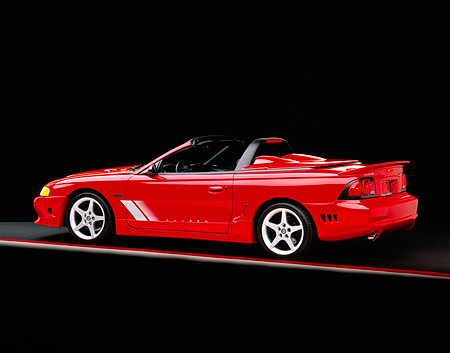 MST 02 RK0004 04 © Kimball Stock 1996 Ford Saleen Mustang Convertible Red 3/4 Rear View On Gray Line Studio
