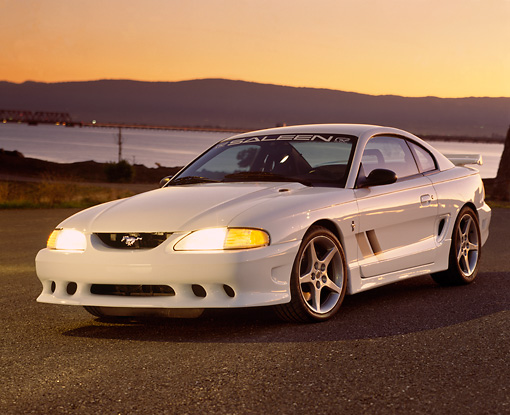 MST 02 RK0015 03 © Kimball Stock 1994 Ford Saleen Mustang S351 White 3/4 Front On Pavement