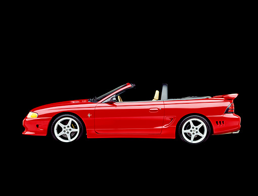 MST 02 RK0022 01 © Kimball Stock 1995 Ford Saleen Mustang S351 Convertible Red Profile View Studio