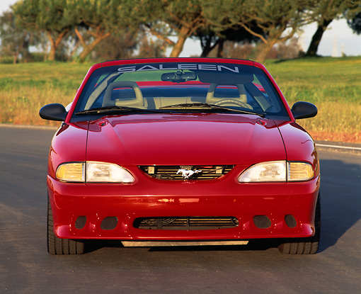 MST 02 RK0029 03 © Kimball Stock 1995 Ford Mustang Saleen S351 Convertible Head On View On Road