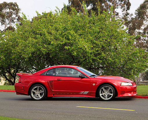 MST 02 RK0038 01 © Kimball Stock 1999 Ford Saleen Mustang Red Profile View On Road