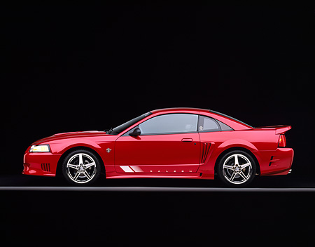 MST 02 RK0041 06 © Kimball Stock 1999 Ford Saleen Mustang Red Profile On Gray Line Studio