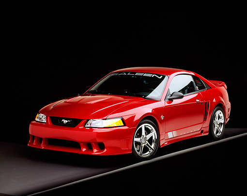 MST 02 RK0043 18 © Kimball Stock 1999 Ford Saleen Mustang Red 3/4 Front View On Gray Line Studio