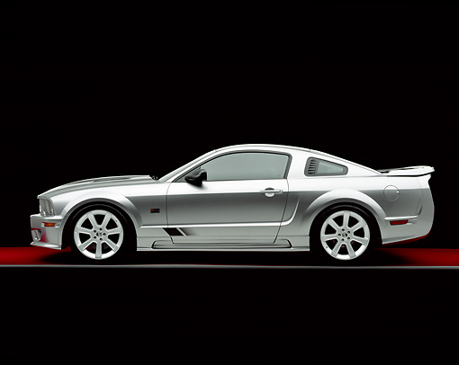 MST 02 RK0050 06 © Kimball Stock 2005 Ford Saleen Mustang Supercharged Silver Side View On Red Floor Gray Line Studio