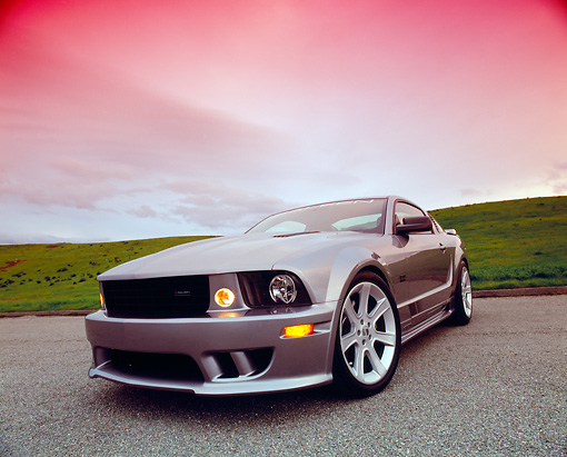 MST 02 RK0064 02 © Kimball Stock 2005 Ford Saleen Mustang Supercharged Silver Low 3/4 Front View On Pavement