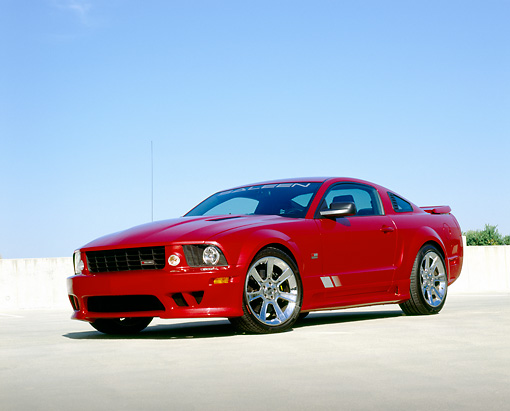 MST 02 RK0077 03 © Kimball Stock 2006 Ford, Mustang, Saleen, S281 SC, Coupe, Red 3/4 Front View On Pavement