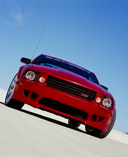 MST 02 RK0078 03 © Kimball Stock 2006 Ford, Mustang, Saleen, S281 SC, Coupe, Red Slanted Head On View On Pavement