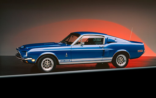 MST 03 RK0009 04 © Kimball Stock 1968 Ford Mustang Shelby GT500 Blue 3/4 Side View On Gray Line Studio