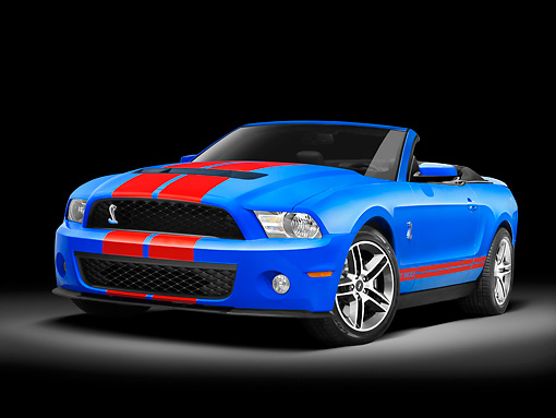 MST 03 RK0883 01 © Kimball Stock 2010 Ford Shelby Cobra Mustang GT500 Blue And Red Stripe 3/4 Front View Studio
