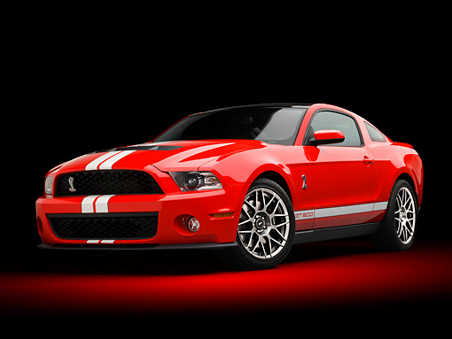 MST 03 RK0920 01 © Kimball Stock 2011 Shelby Ford Mustang GT500 SVT Red With White Stripes 3/4 Front View In Studio