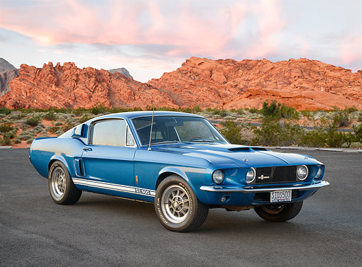 MST 03 RK0929 01 © Kimball Stock 1967 Ford Shelby Mustang GT 500 Blue 3/4 Front View On Pavement In Desert