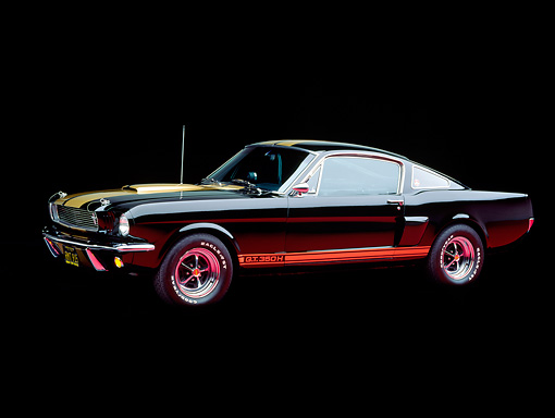 MST 03 RK0028 01 © Kimball Stock 1966 Ford Mustang Shelby GT 350 Black Gold Stripe 3/4 Side View Studio