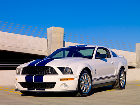 MST 03 RK0157 01 © Kimball Stock 2007 Ford Shelby GT500 White Blue Stripe 3/4 Front On Pavement