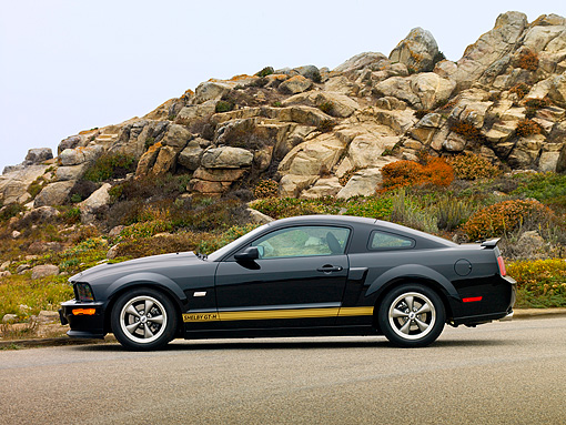 MST 03 RK0172 01 © Kimball Stock 2006 Ford Shelby GT-H Black And Gold Profile View On Pavement By Rocks