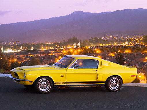 MST 03 RK0187 01 © Kimball Stock 1968 Ford Mustang Shelby GT500KR Coupe Yellow Front 3/4 View Pavement Mountain City
