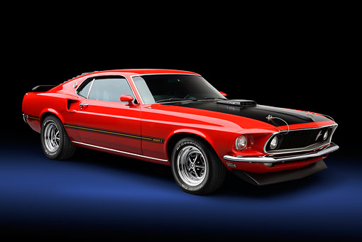 MST 04 BK0001 01 © Kimball Stock 1969 Ford Mustang Mach 1 Super Cobra Jet Red And Black 3/4 Front View In Studio