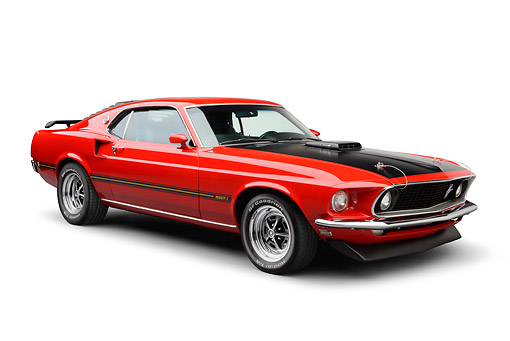 MST 04 BK0002 01 © Kimball Stock 1969 Ford Mustang Mach 1 Super Cobra Jet Red And Black 3/4 Front View On White Seamless