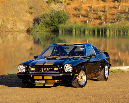 MST 04 RK0003 02 © Kimball Stock 1977 Ford Mustang Cobra II Black Gold Stripe 3/4 Front View On Dirt By Water