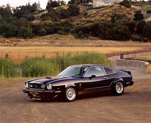 MST 04 RK0004 02 © Kimball Stock 1977 Ford Mustang Cobra II Black 3/4 Side View On Dirt