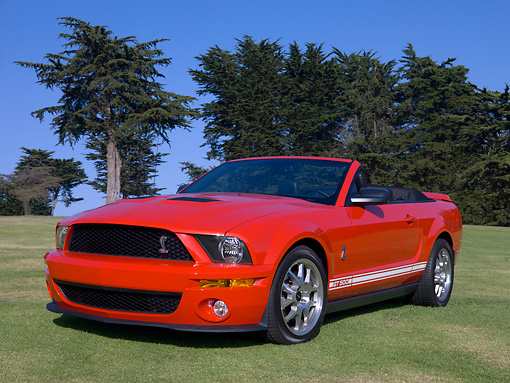 MST 04 RK0041 01 © Kimball Stock 2007 Ford Shelby Cobra GT500 Convertible Red 3/4 Low Front View On Grass