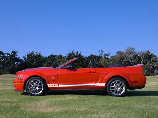 MST 04 RK0042 01 © Kimball Stock 2007 Ford Shelby Cobra GT500 Convertible Red Profile View On Grass