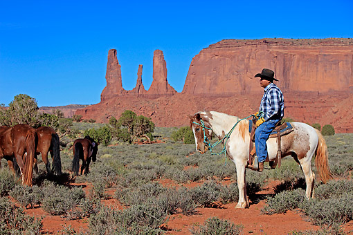 PEO 04 AC0002 01 © Kimball Stock Navajo Cowboy Riding Mustang In Monument Valley, Utah, USA