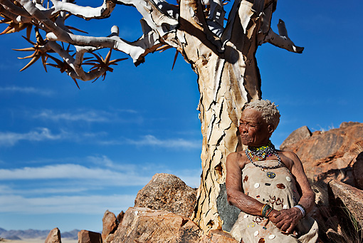 PEO 08 MH0012 01 © Kimball Stock Elderly San Woman Leaning Against Quiver Tree Namibia