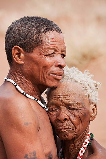 PEO 08 MH0015 01 © Kimball Stock Portrait Of Elderly San Husband And Wife Namibia