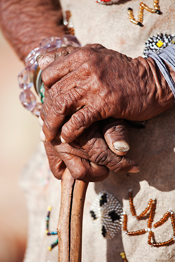 PEO 08 MH0018 01 © Kimball Stock Close-Up Of Hands Of Elderly San Woman Namibia