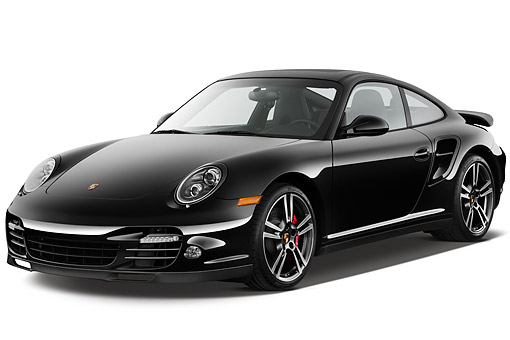 POR 03 IZ0001 01 © Kimball Stock 2012 Porsche Carrera Turbo Coupe Black 3/4 Front View On White Seamless