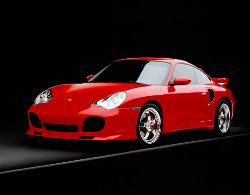 POR 03 RK0135 07 © Kimball Stock 2003 Porsche Turbo X50 Red Front 3/4 View On Gray Line Studio