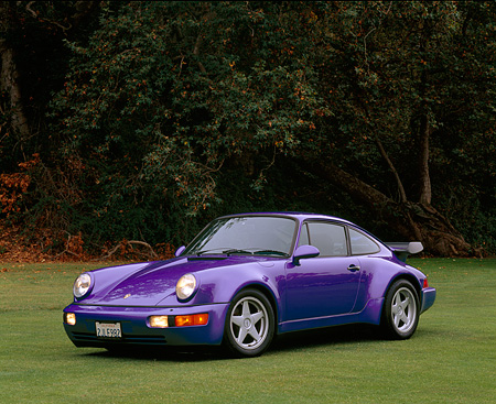 POR 03 RK0032 04 © Kimball Stock 1977 Porsche 930 Turbo Purple 3/4 Front View On Grass