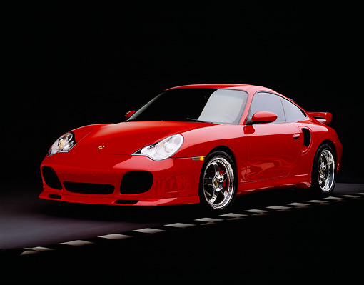 POR 03 RK0134 04 © Kimball Stock 2003 Porsche Turbo X50 Red Front 3/4 View On Checkered Line Studio
