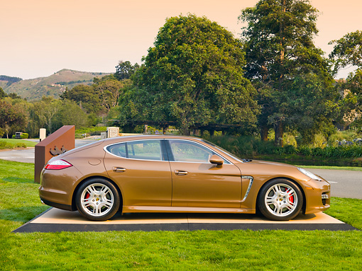 POR 04 BK0001 01 © Kimball Stock 2013 Porsche Panamera Turbo Bronze Profile View On Grass