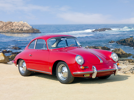 POR 04 BK0004 01 © Kimball Stock 1962 Porsche 356B Coupe Red 3/4 Front View On Sand By Ocean