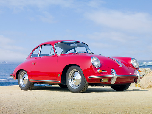 POR 04 BK0005 01 © Kimball Stock 1962 Porsche 356B Coupe Red 3/4 Front View On Sand By Ocean