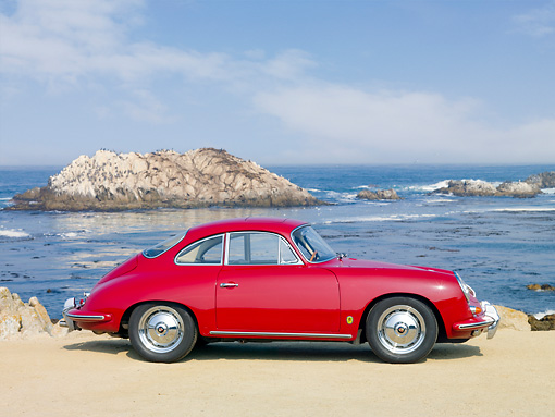 POR 04 BK0006 01 © Kimball Stock 1962 Porsche 356B Coupe Red Profile View On Sand By Ocean