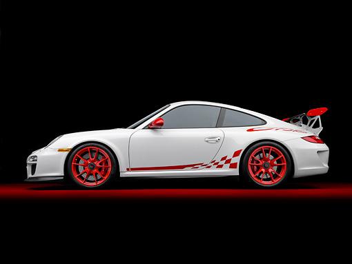 2010 Porsche Gt3 Rs White Profile View Studio Kimballstock