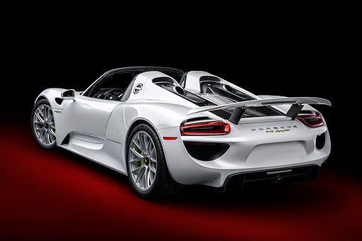 POR 04 BK0022 01 © Kimball Stock 2015 Porsche 918 Spyder Hybrid 3/4 Rear View In Studio