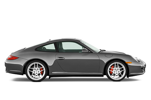 POR 04 IZ0009 01 © Kimball Stock 2010 Porsche 911 Carrera 4S Coupe Gray Profile View Studio