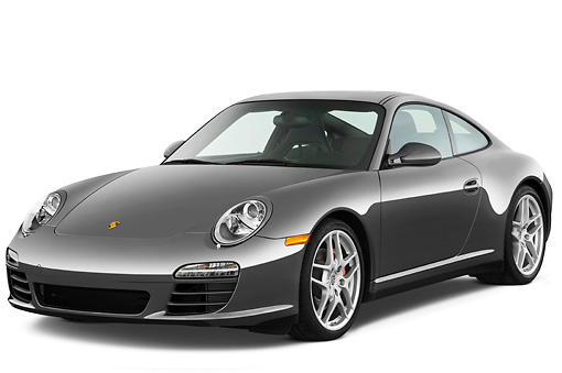 POR 04 IZ0010 01 © Kimball Stock 2010 Porsche 911 Carrera 4S Coupe Gray 3/4 Front View Studio