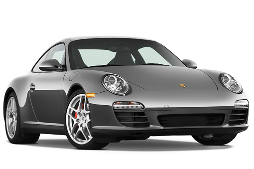 POR 04 IZ0011 01 © Kimball Stock 2010 Porsche 911 Carrera 4S Coupe Gray 3/4 Front View Studio