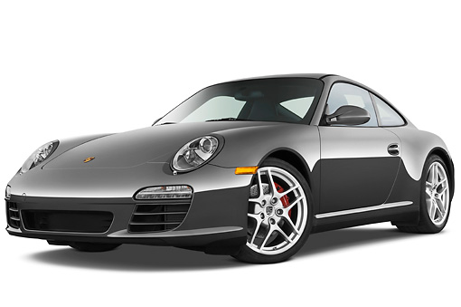 POR 04 IZ0012 01 © Kimball Stock 2010 Porsche 911 Carrera 4S Coupe Gray 3/4 Front View Studio