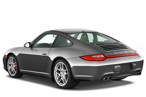 POR 04 IZ0013 01 © Kimball Stock 2010 Porsche 911 Carrera 4S Coupe Gray 3/4 Rear View Studio