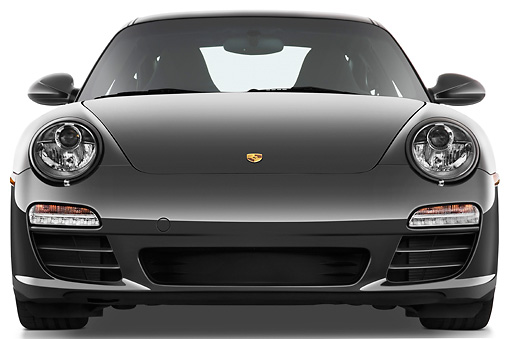 POR 04 IZ0015 01 © Kimball Stock 2010 Porsche 911 Carrera 4S Coupe Gray Front View Studio