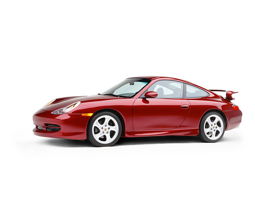 POR 04 RK0406 08 © Kimball Stock 1999 Porsche 996 Carrera Arena Red 3/4 Side View On White Seamless