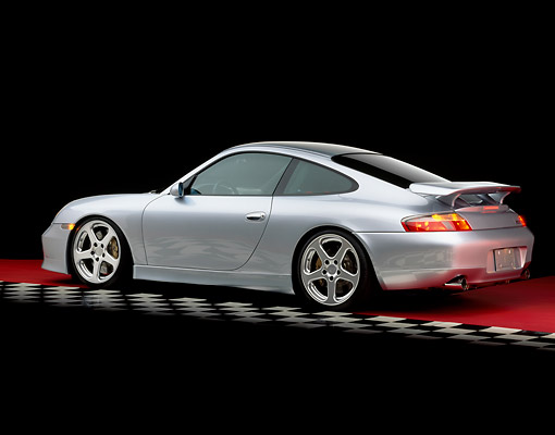 POR 04 RK0453 01 © Kimball Stock 2001 Porsche Ruf RGT Silver Rear 3/4 View On Checkered Line Studio
