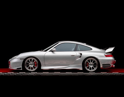 POR 04 RK0549 02 © Kimball Stock 2004 Porsche X50 Turbo Silver Profile View On Checkered Line Red Floor Studio